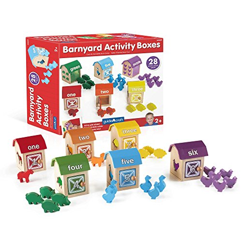 (Guidecraft Barnyard Activity Boxes -21 Colorful Animal Blocks, Kids Preschool Learning and Development Toy )