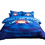 FJLOVE Kids Cartoon Ponyo on the Cliff Bedding Set for Boys Girls 3 Piece Cotton Teens Children Duvet/Comforter Cover Set, 1 Duvet Cover with 2 Pillowcases,A,King