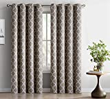 "HLC.ME Lattice Print Thermal Insulated Room Darkening Blackout Window Curtain Panels - Pair - Chrome Grommet Top - 52"" W x 84"" L - Taupe"