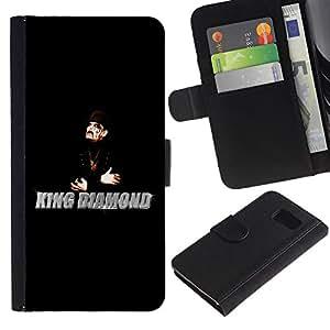 All Phone Most Case / Oferta Especial Cáscara Funda de cuero Monedero Cubierta de proteccion Caso / Wallet Case for Samsung Galaxy S6 // King Diamonds Man Magician Black Hat Art