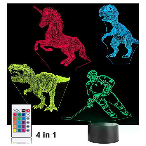 Night Lights for Kids Dinosaur Hockey Unicorn 3D Night Light Lamp 4 in 1 16 LED Colors Changing Remote Touch Desk Lamps Decorative Lighting Toys Gifts Birthday Holiday Xmas for Baby Nursery Toddler