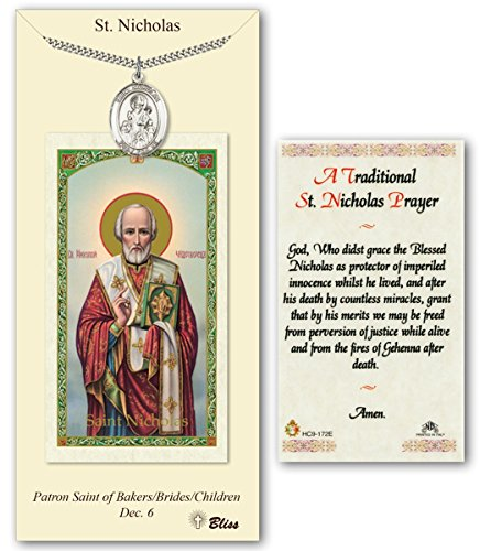 Pewter Saint Nicholas Medal with Laminated Holy Prayer Card