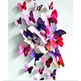 3D Removable 24Pcs Vivid Butterfly Art Decor Wall Stickers Home kid Room Decals-Pink and Purple