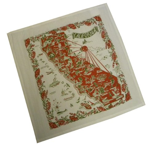 The Red & White Kitchen Co. California Red State Souvenir Dish Towel,22 inch square