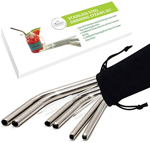 Straws Case (Stainless Steel Drinking Straws by Chefast - 3x2 Combo Kit - Reusable Metal Straws for Everything From 30 oz Yeti Tumblers to Very Thick Smoothies - 2 Cleaning Brushes, Long Case and Gift Box Included)