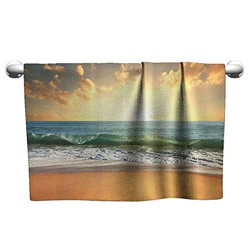 (Ocean Decor Collection Soft Bath Towel Sunset at a Smooth Sandy Beach with Small Wave and Bubbles from The Sea View Picture W14 x L27 Teal Blue Ivory Beige)