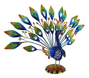 Colorful Metal and Wire Tabletop Peacock Statue with Stone Accents