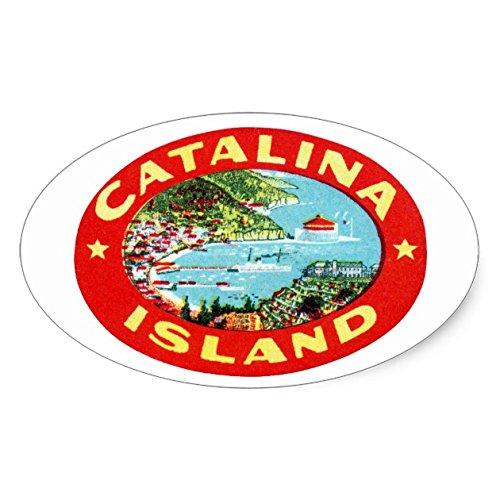 Lancy's Artwork Vintage Catalina Island California Oval Sticker - Sticker Graphic - Auto, Wall, Laptop, Cell, Truck Sticker for Windows, Cars, Trucks