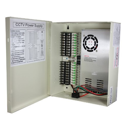 InstallerCCTV 18 Output 29 Amp 12V DC CCTV Distributed Power Supply Box for Security (12vdc Power Distribution Supply Box)