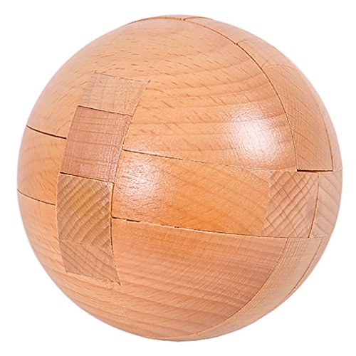 Wooden Ball Puzzle - KINGOU Wooden Ball lock Logic Puzzle Burr Puzzles Brain Teaser Intellectual Removing Assembling Toy