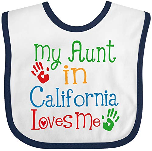 (Inktastic - My Aunt in California Loves Me Baby Bib White/Navy)