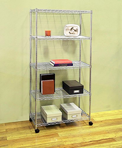 Portable Wire Shelving five Tier Rack Adjustable Chrome with Wheels. Rolling Storage Unit to Organize your Kitchen, Bathroom, Garage, Office, eBook by jn.widetrade by jnwd