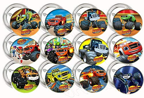 "Blaze Monster Buttons Monster Truck Party Favors Supplies Decorations Collectible Metal Pinback Buttons Pins, Large 2.25"" -12 pcs, Starla Zeg Stripes Darington Pickle Crusher Gabby AJ"