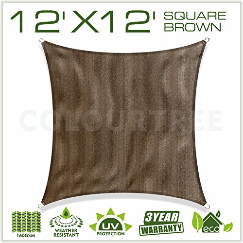 ColourTree 12' x 12' Sun Shade Sail Canopy Square Brown - Commercial Standard Heavy Duty - 160 GSM - 4 Years Warranty (1) (Canopy Sunshade Sail)