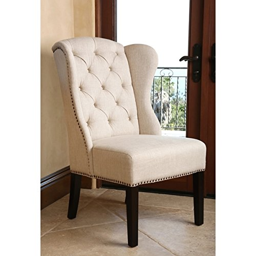 "ABBYSON LIVING Sierra Tufted Cream Linen Wingback Dining Chair (40.5"" high x 27"" wide x 29"" deep)"