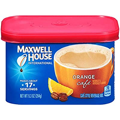 Maxwell House International Cafe Instant Coffee, Orange Café, 9.3 Ounce Canister (Pack of 4) by KraftHeinz