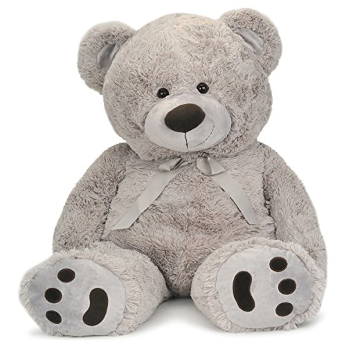 (JOON Huge Teddy Bear With Ribbon, Light Gray)