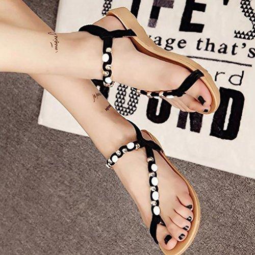YOUJIA Mujer Cómodo Ligero Sandalias Plano Bohemian Ornamento de perla Zapatos de Playa Peep Clip Toe Sandalias Negro