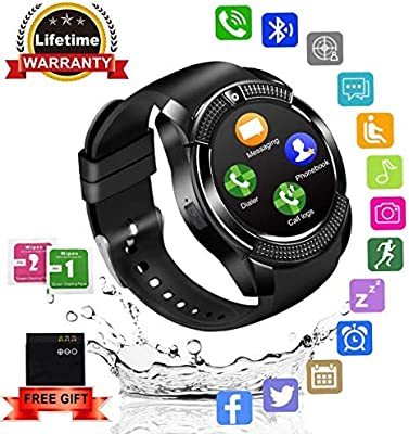 Smartwatch,Impermeable Reloj Inteligente Redondo con Sim Tarjeta ...