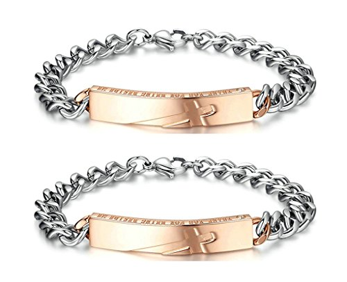 Gnzoe 2Pcs LGBT Homosexual Women Set Bracelet Bangle Stainless Steel With Engraved Cross