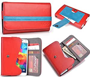 Red Teal Mens | Womans Wallet Phone Duo Fits Samsung Focus 2 I667 +NuVur KeyChain ESMLGPR1