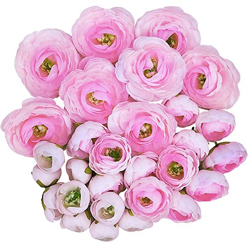 Supla 30 Pack Artificial Ranunculus Flower Heads Silk Ranunculus Buds Pink Millinery Flowers 1.5,2.2,3.1 Wide for Wedding Floral Arrangement Crowns Bouquets Hair Accessories Corsages Crafts