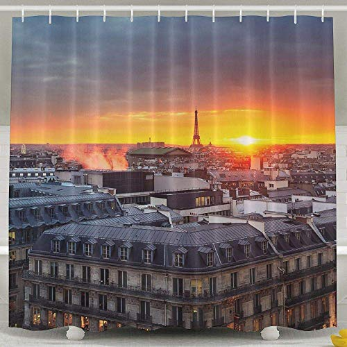 VBTY 60X72Inches Shower Curtain Architecture Old Building City Capital Europe Sky Clouds Paris France Eiffel Tower Roof Tops Church Cathedral Lights Smoke City Scape EveningwindowBathroom Curtains