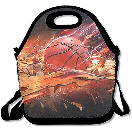 MLikdfjapf GRATIANUS10 Lunch Tote - Basketball Wallpaper Waterproof Reusable Lunch Bags Men Women Adults Kids Toddler Nurses Adjustable Shoulder Strap - Best Travel Bag Handbag for School Office