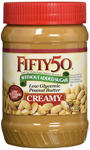 (Fifty-50 Low Glycemic Peanut Butter Creamy, 18 Ounce (Pack of 6) )