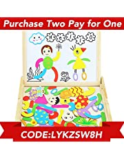Magnetic Drawing Board Games Double Sided Blackboard White Board Easel Jigsaw Puzzle 71 Pieces Wooden Toys with Wooden Box for Kids Girls Boys 3 4 5 Year Olds