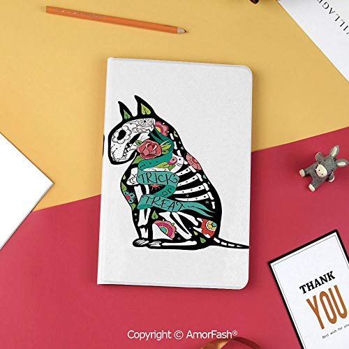 Case for Samsung Galaxy Tab S3 9.7 SM-T820 with Stand,Slim Fit Leather Folio Cover,Halloween Decorations,Skeleton Demon Figures Flowers and Trick or Treat Quote Ethnic Design,Multi ()