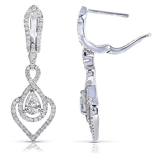 Diamond Earrings 1 1/6 Carat (ctw) in 14k White Gold