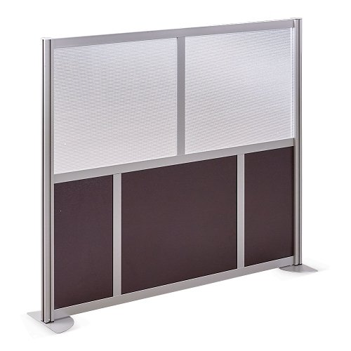 at Work 61'' W x 53'' H Room Divider Espresso Laminate/Plexiglas Inserts/Brushed Nickel Finish/Aluminum and Steel Frame by NBF Signature Series