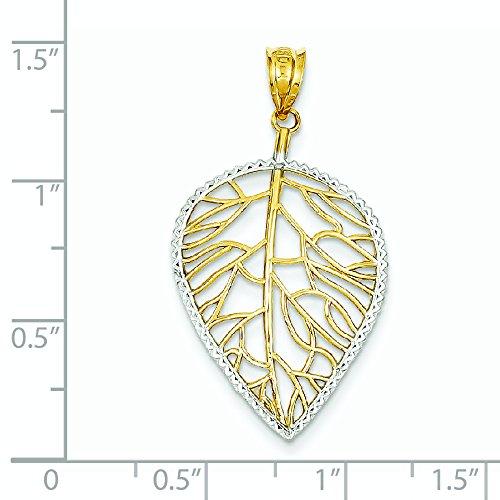 14 carats et Rhodium avec pendentif en forme de feuille-JewelryWeb