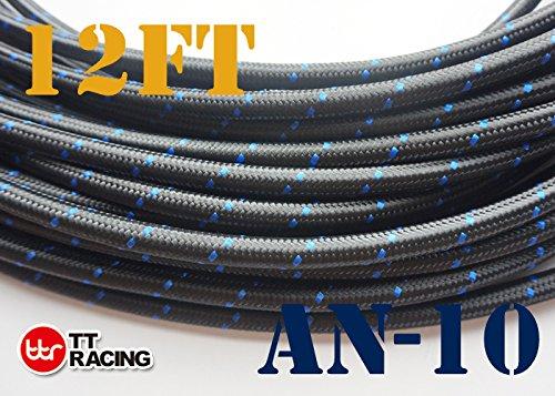 12 Feet -10AN AN10 Steel Nylon Braided Oil Gas Fuel Hose Line & Black Swivel Fitting Kit