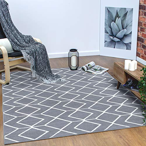 Antep Rugs Kashan King Collection Trellis Polypropylene Indoor Area Rug (Grey/Cream, 5