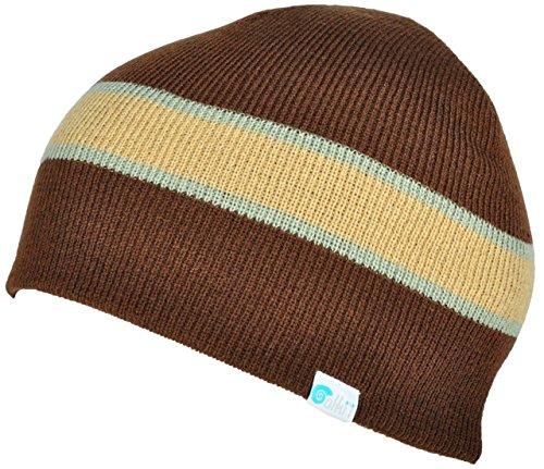 Alki'i striped mens/womens warm beanie snowboarding winter hats - Brown (Brown Striped Beanie)