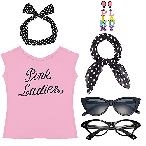 1950s Womens Halloween Costume Fancy Dress Set - Pink Ladies T-Shirt,Polka Dot Style Headband,Chiffon Scarf Cat Eye Glasses Bandana Tie Headband & -