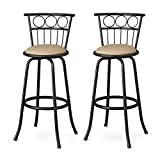 Cheap Poundex Eaden Swivel Barstool with 24-Inch Height or 29-Inch Height Adjustable Height, Set of 2