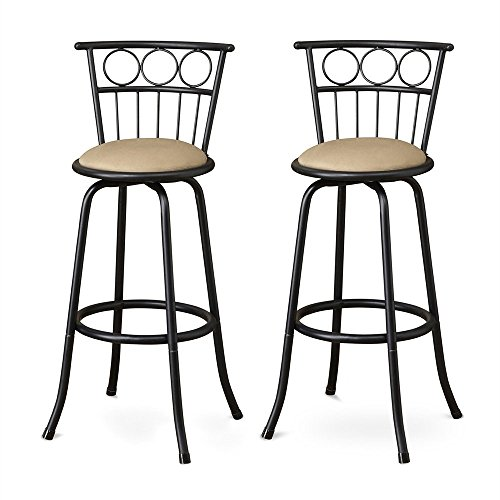 Poundex Eaden Swivel Barstool with 24-Inch Height or 29-Inch Height Adjustable Height, Set of 2