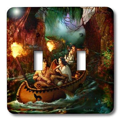3dRose LLC LSP 11658_ 2nativo americano familia desde hace mucho tiempo en un viaje hacia abajo el Río por canoa, doble...