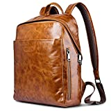 Aroko Genuine Leather Backpack, Vintage Oil Wax Waterproof Real Leather Backpack Casual Shoulder Bag Backpack (brown)