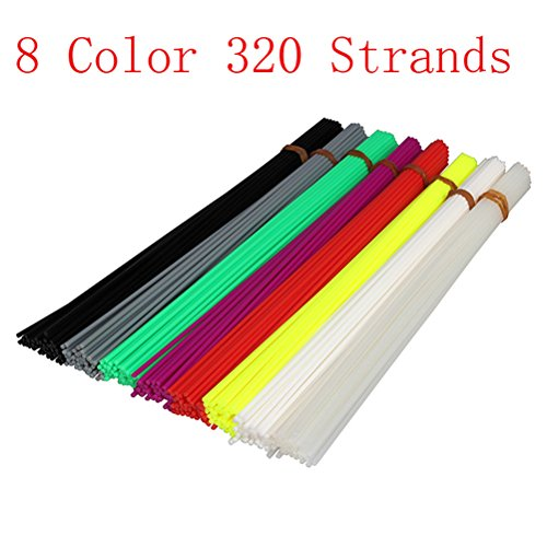 Tinksky 320pcs 20cm Filament 1.75mm PLA Plastic Bar Refill for 3D Printer Pen (8 Colors) by TINKSKY (Image #3)