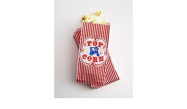 "Vintage Popcorn  Bag 3 1//2/"" x 2/"" x 8/"" #510 Pack of 100 Circus Movie Ballpark"