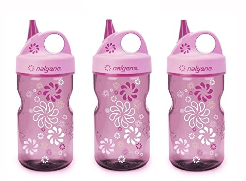 Nalgene Grip 'n Gulp Kids Travel Water Bottle - 12 Ounce - Pink Wheels - 3 Pack ()