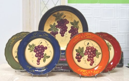 Colorful Grapes 4 Piece Dinner Plate Set Grape Salad Set