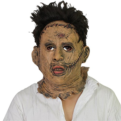COSKING Scary Chainsaw Massacre Mask, Deluxe Latex Halloween Costume Party Props Horror Headgear (One Size)