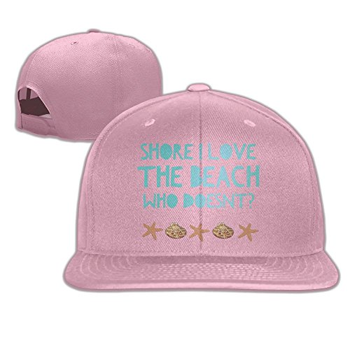 Yishuo Men Shore I Love The Beach -fun Vacation T Casual Style Hip-Hop Pink Hat Adjustable Snapback