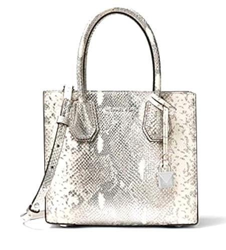 4ba6066b9eb37 MICHAEL KORS Mercer Metallic Snake-Embossed Leather Crossbody Pewter  Amazon .co.uk  Shoes   Bags
