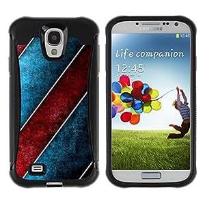 Fuerte Suave TPU GEL Caso Carcasa de Protección Funda para Samsung Galaxy S4 I9500 / Business Style Stripes Design Wall Art Red Blue Wallpaper